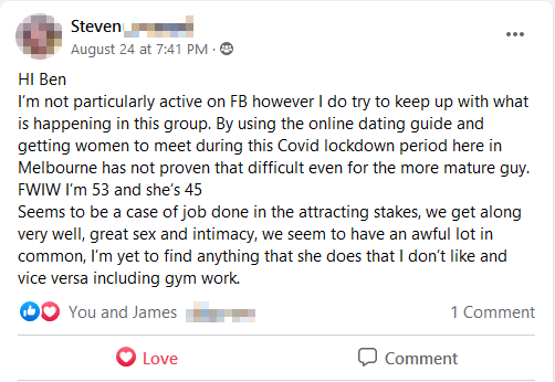 A review from a client using the texting & online dating training inside the Natural Attraction Blueprint Online Training from The Legends Academy